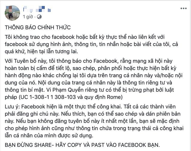 Lại rộ chuyện đăng 'tuyên bố Facebook' để bảo mật thông tin cá nhân - Ảnh 1.