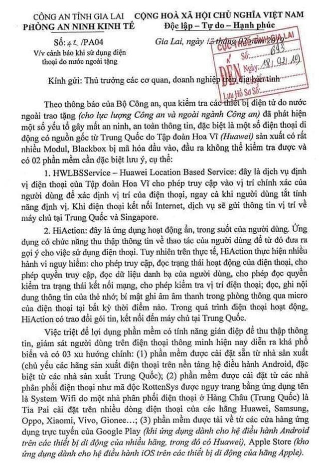 Công an Gia Lai bác tin được tặng điện thoại Huawei - Ảnh 2.
