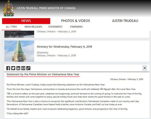 Thủ tướng Canada viết Chúc mừng năm mới để chúc Tết Việt - Ảnh 2.