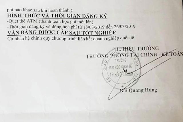 Giả chữ ký, con dấu ĐH Kinh tế TP.HCM để lừa tuyển sinh - Ảnh 1.