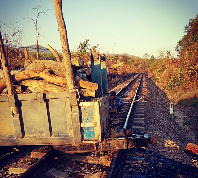 Máy cày kẹt giữa đường ray, thanh niên băng rừng ngăn tàu lao tới - Ảnh 1.