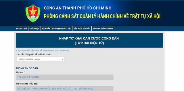 TP.Hồ Chí Minh tiếp nhận làm thủ tục cấp căn cước công dân qua mạng - Ảnh 1.
