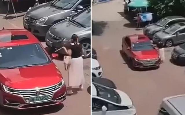 Cười ngất với quý cô Trung Quốc lấy thước dây đo chỗ đậu xe