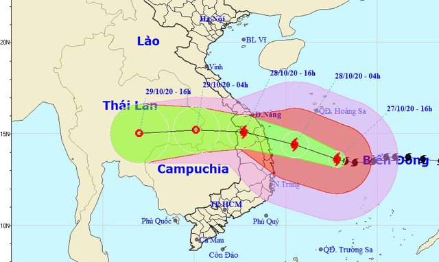 22h ngày 27-10, bão số 9 cách Phú Yên 286 km, giật cấp 17 - Ảnh 1.