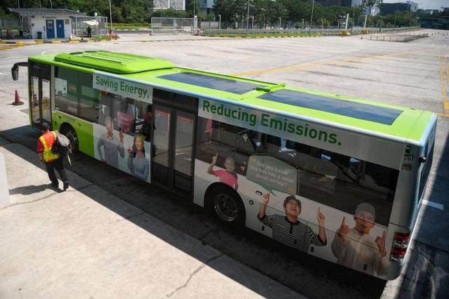 Singapore thử nghiệm xe buýt chạy bằng pin năng lượng Mặt trời - Ảnh 1.