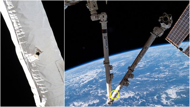 Rác vũ trụ chọc thủng cánh tay robot của trạm không gian ISS - Ảnh 1.