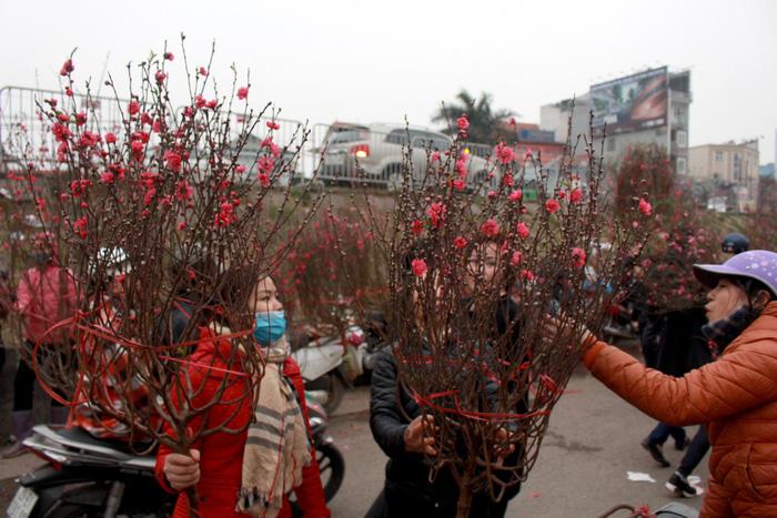 Dân Hà Nội đổ xô ra chợ hoa mua đào chơi Tết - Ảnh 3.