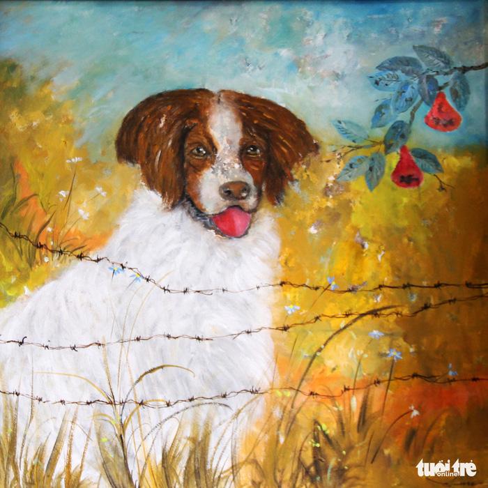 Dễ thương khi họa sĩ Huế vẽ tranh chó nhân năm Mậu Tuất - Ảnh 3.