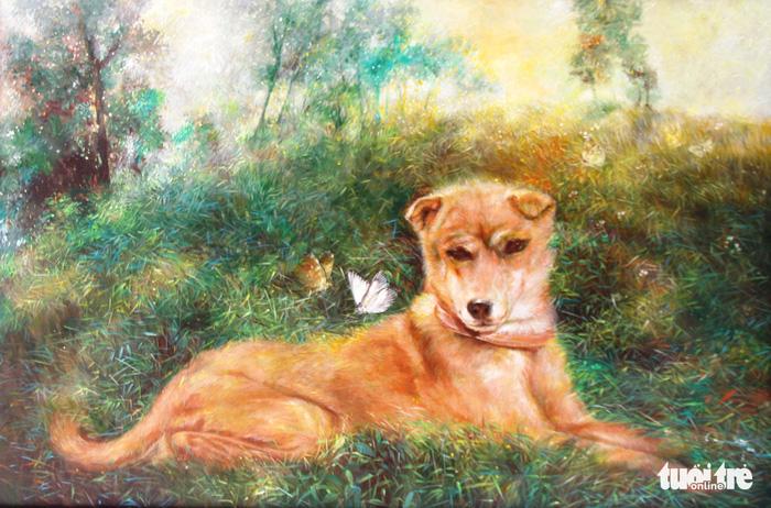 Dễ thương khi họa sĩ Huế vẽ tranh chó nhân năm Mậu Tuất - Ảnh 6.