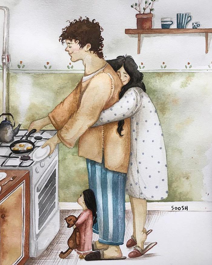 Hạnh phúc gia đình giản dị qua bộ ký họa dễ thương - Ảnh 1.