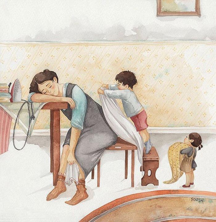 Hạnh phúc gia đình giản dị qua bộ ký họa dễ thương - Ảnh 2.