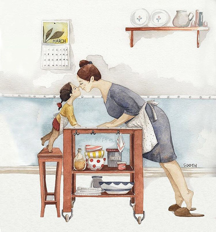 Hạnh phúc gia đình giản dị qua bộ ký họa dễ thương - Ảnh 19.