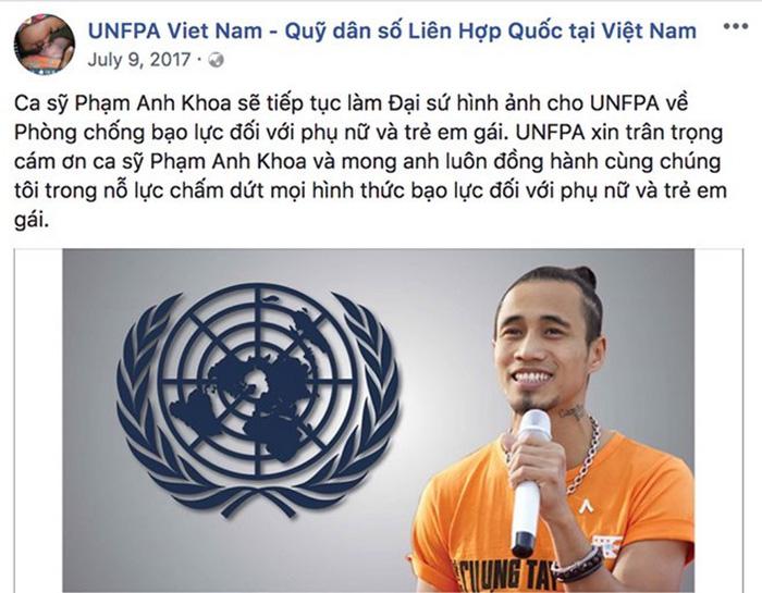 Quỹ dân số Liên hợp quốc gỡ ảnh Phạm Anh Khoa khỏi fanpage - Ảnh 1.