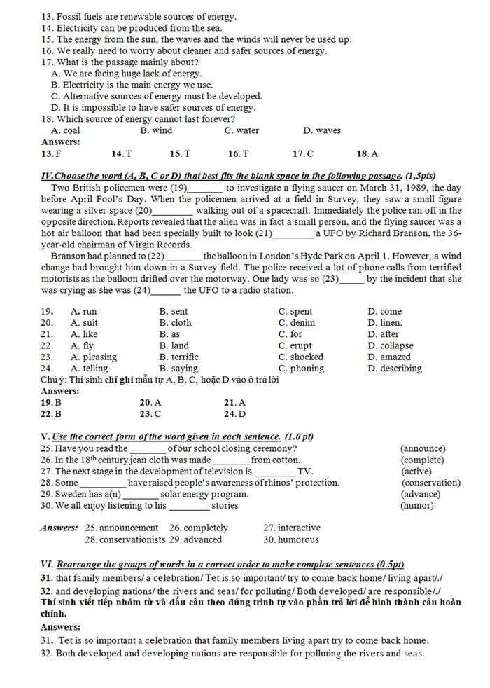 Bài giải đề tiếng Anh thi lớp 10 TP.HCM - Ảnh 2.