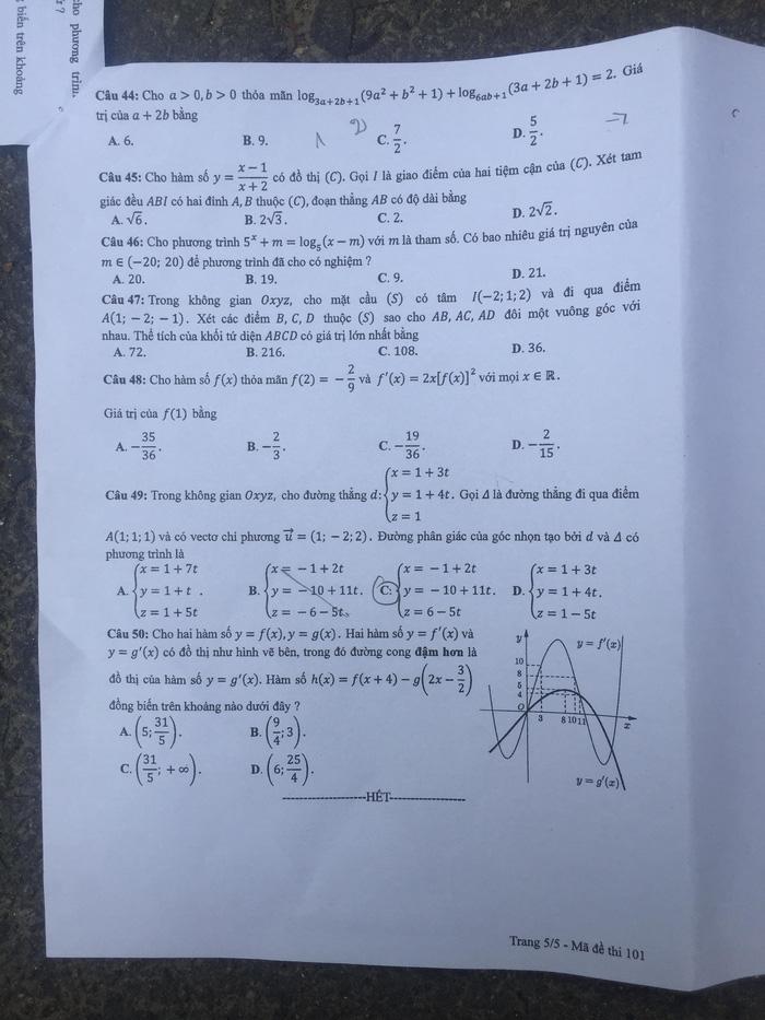 Thí sinh than đề thi toán THPT quốc gia dài - Ảnh 6.