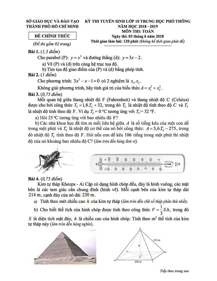 Công bố đáp án kỳ thi tuyển sinh vào lớp 10 tại TP.HCM - Ảnh 2.