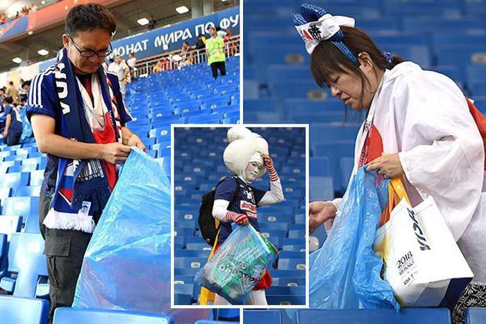 Nhật thua, fan Nhật vừa khóc nức nở lại vừa nhặt rác trên khán đài - Ảnh 5.