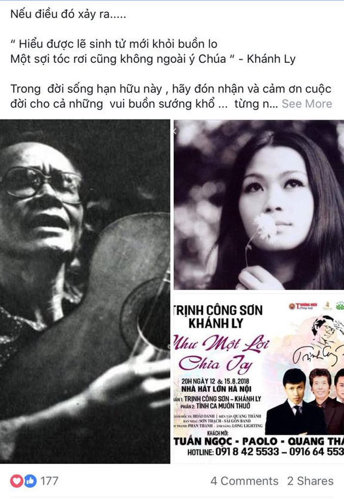 Đại diện của ca sĩ Khánh Ly bác bỏ lời đồn bà vừa qua đời - Ảnh 2.