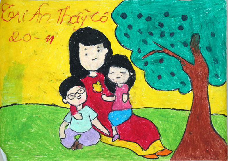 Thiệp 20-11 dễ thương học trò Sài Gòn tự làm tặng thầy cô - Ảnh 1.