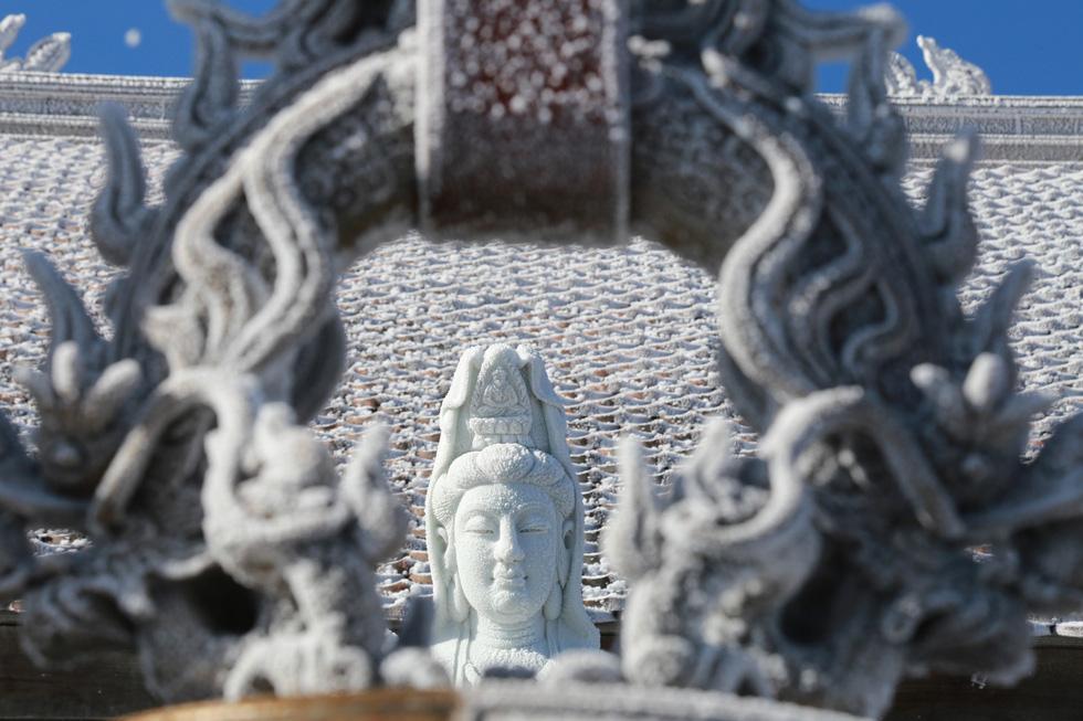 Mưa tuyết phủ trắng đỉnh Fansipan đẹp như cổ tích - Ảnh 11.