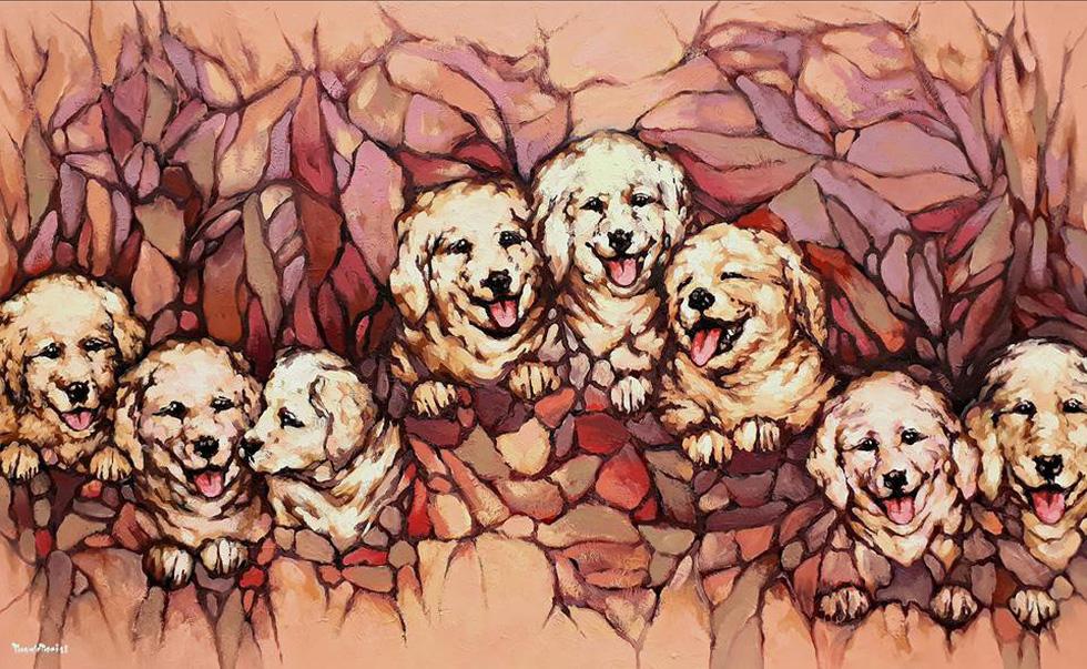 Họa sĩ Việt tung tranh vẽ chó đón năm Mậu Tuất  - Ảnh 1.