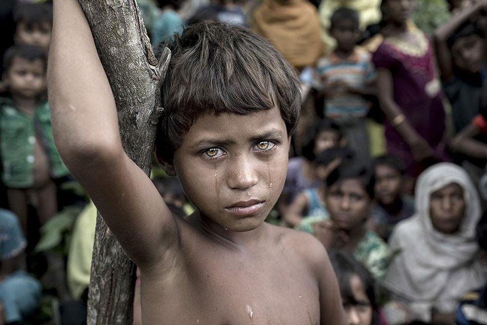 Bức ảnh đoạt giải Ảnh của năm. Ảnh chụp cô bé Asmat Ara khi chạy nạn từ Myanmar sang Cox's Bazar, Bangladesh. Nỗi vất vả, kinh hoàng hằn rõ trên gương mặt trẻ thơ.