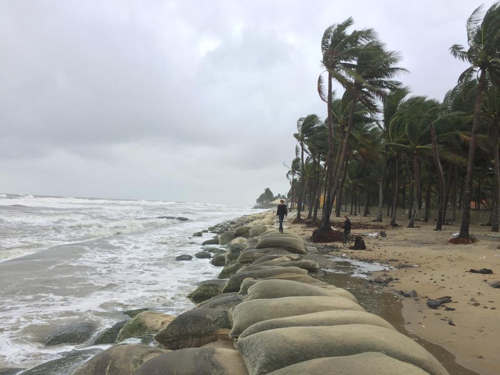 Bờ biển Cửa Đại lại tan hoang trước sóng biển - Ảnh 1.