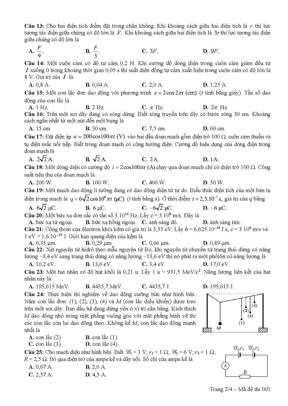 Đề tham khảo thi THPT quốc gia 2019 môn vật lý - Ảnh 2.
