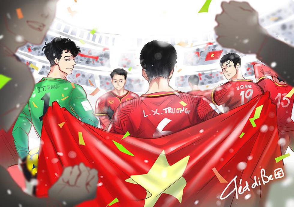 Loạt hình vẽ đáng yêu về hành trình đáng nhớ của U23 Việt Nam - Ảnh 2.