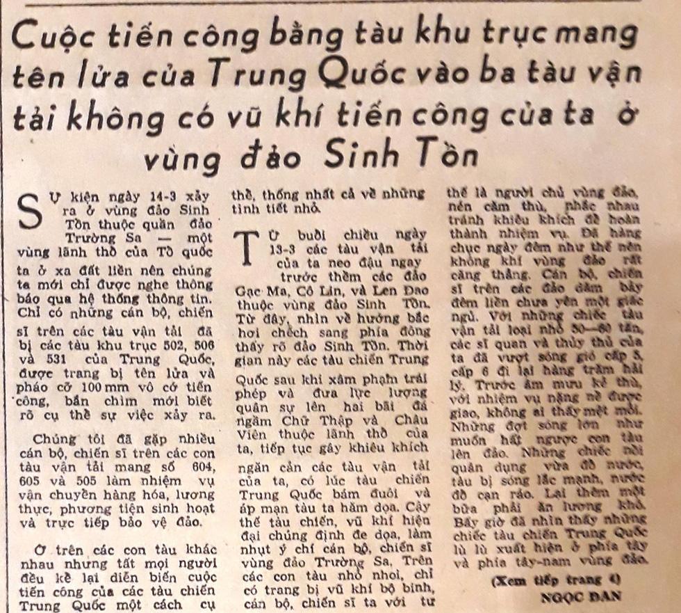 30 năm ngày 14-3: Bài báo đầu tiên về thảm sát Gạc Ma - Ảnh 3.