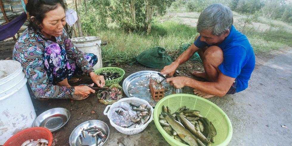 tranh thủ vắng khách, vợ chồng ông bảy tá làm cá bán ở chợ bên đường - ảnh quốc việt