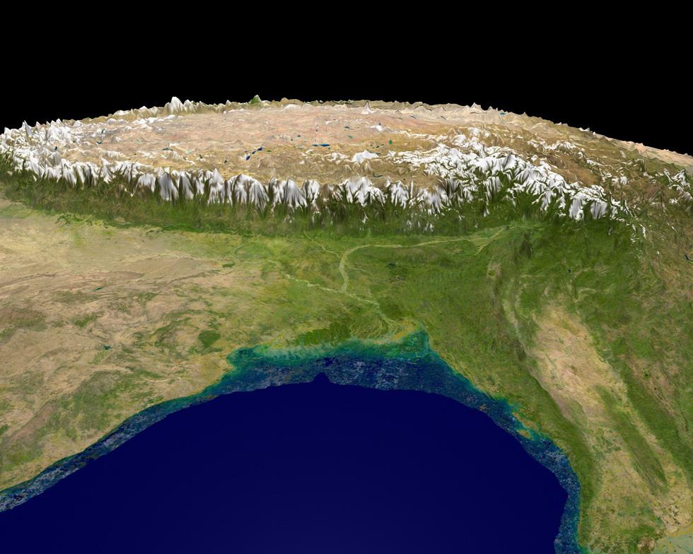 Ngắm ảnh 'nóc nhà thế giới' từ vệ tinh cực hùng vĩ - Ảnh 1.