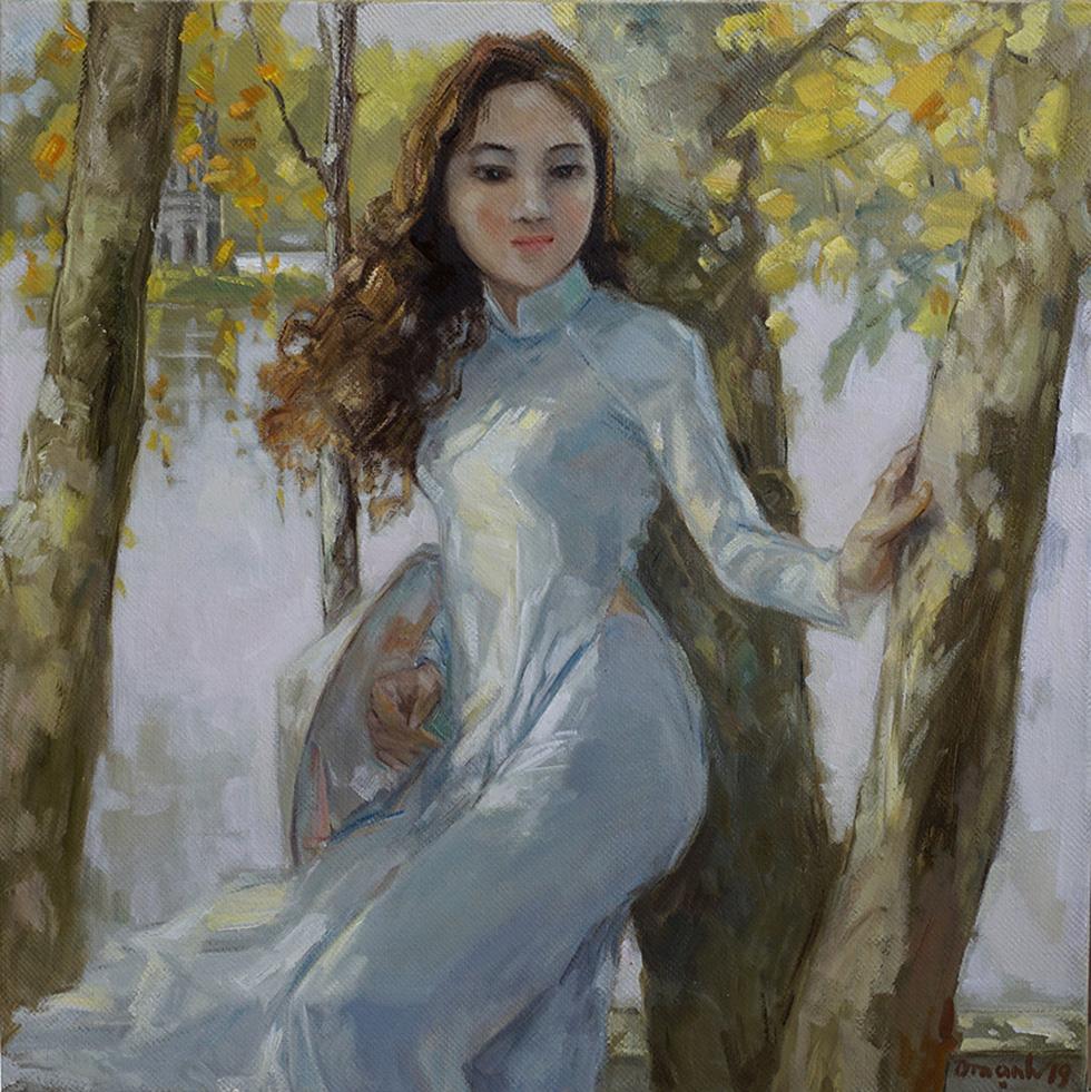 Xem tranh, ảnh đẹp như thơ trong triển lãm Chuyện áo dài - Ảnh 7.