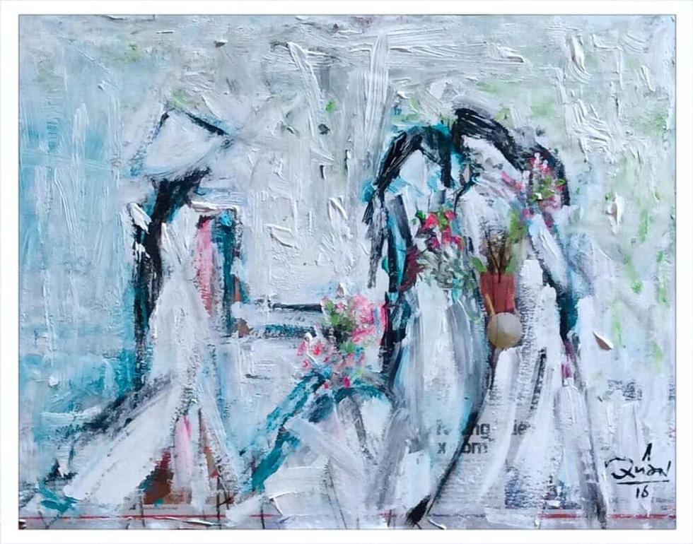 Xem tranh, ảnh đẹp như thơ trong triển lãm Chuyện áo dài - Ảnh 14.