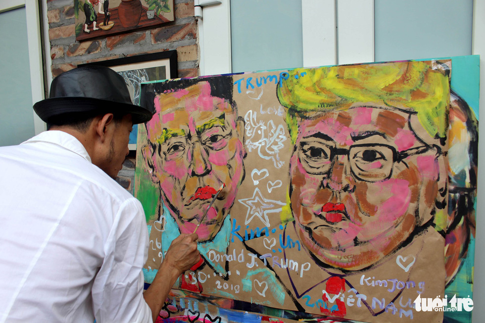 Lãnh đạo Mỹ và Triều Tiên trong thông điệp hòa bình của họa sĩ Việt - Ảnh 3.