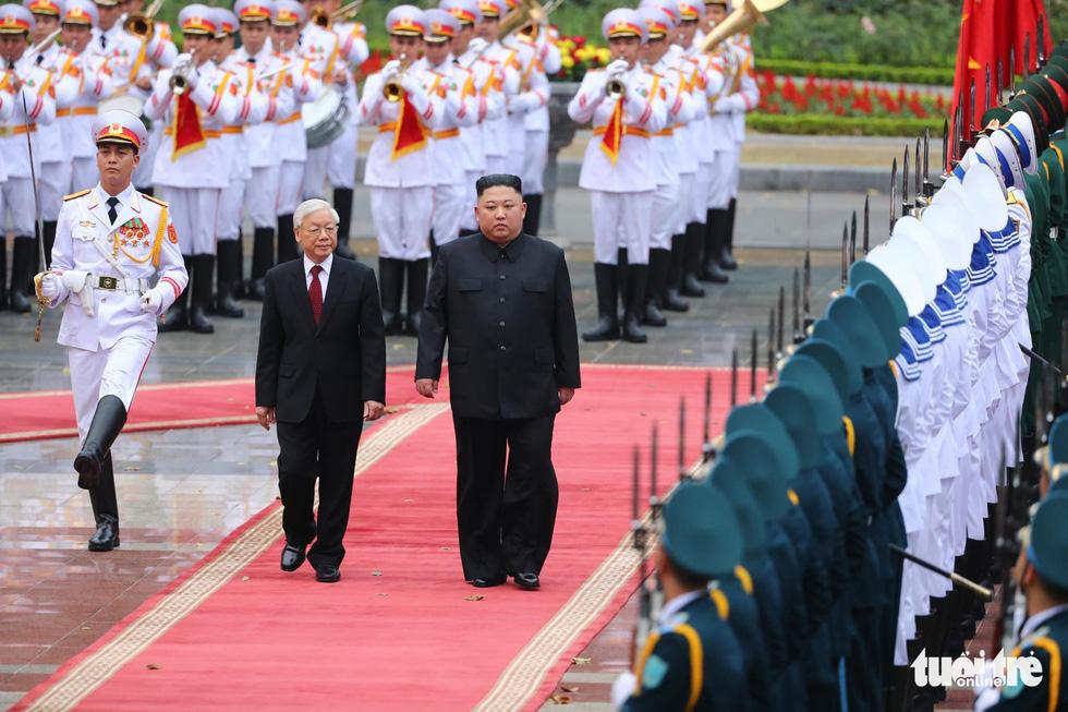 Tổng bí thư, Chủ tịch nước Nguyễn Phú Trọng hội đàm với Chủ tịch Kim Jong Un - Ảnh 1.