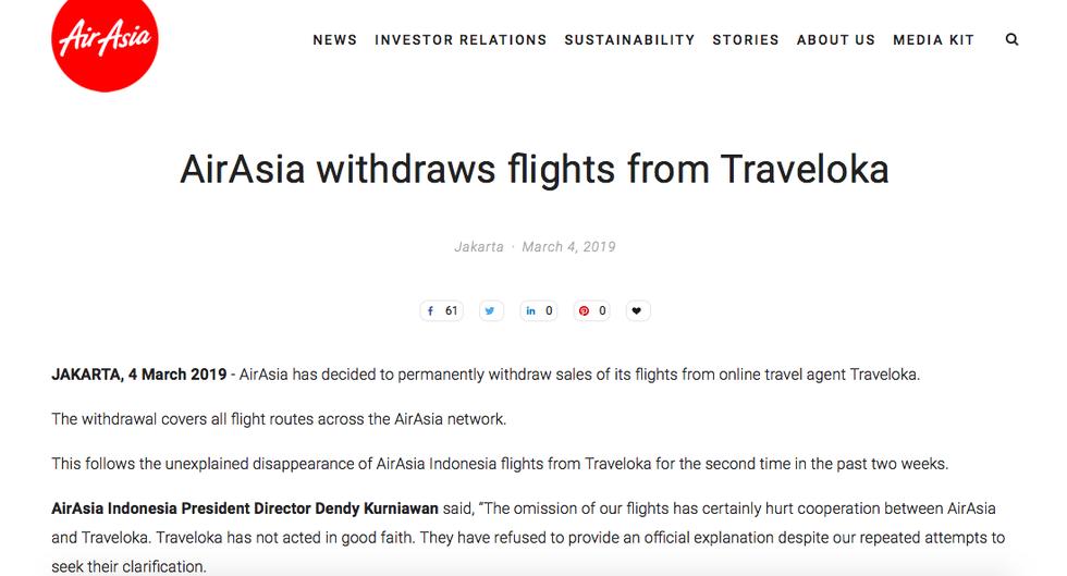 AirAsia ngưng hợp tác với kênh du lịch trực tuyến Traveloka - Ảnh 1.