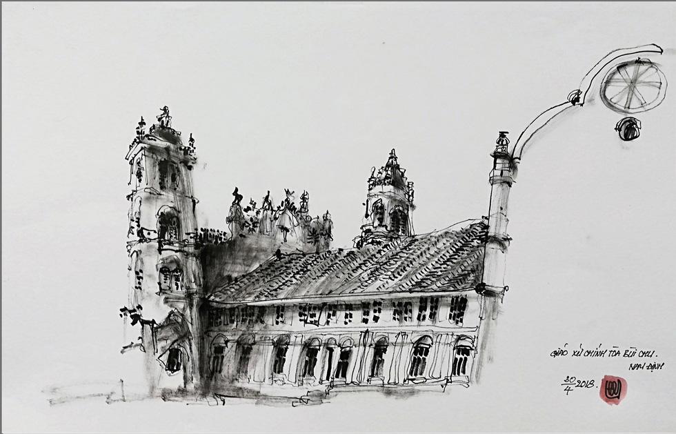Giáo dân Bùi Chu phát hiện nhà thờ của mình lộng lẫy trên... ký họa - Ảnh 7.