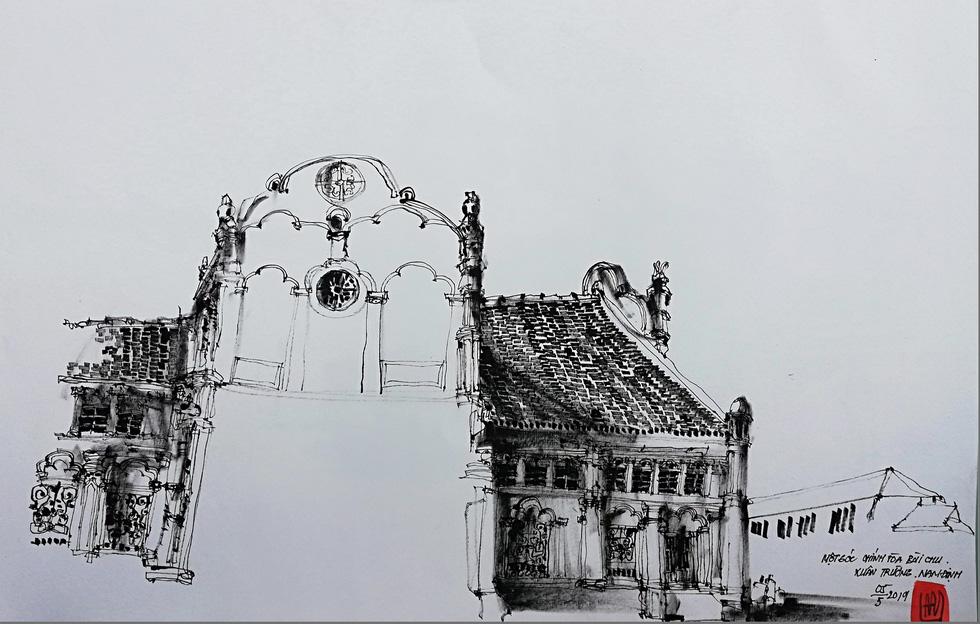 Giáo dân Bùi Chu phát hiện nhà thờ của mình lộng lẫy trên... ký họa - Ảnh 10.
