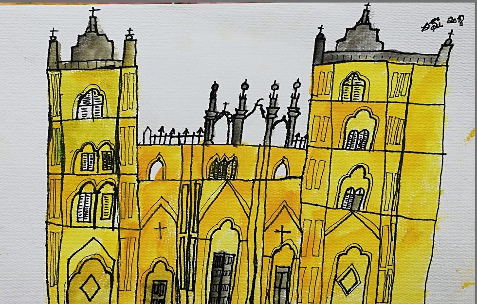 Giáo dân Bùi Chu phát hiện nhà thờ của mình lộng lẫy trên... ký họa - Ảnh 13.