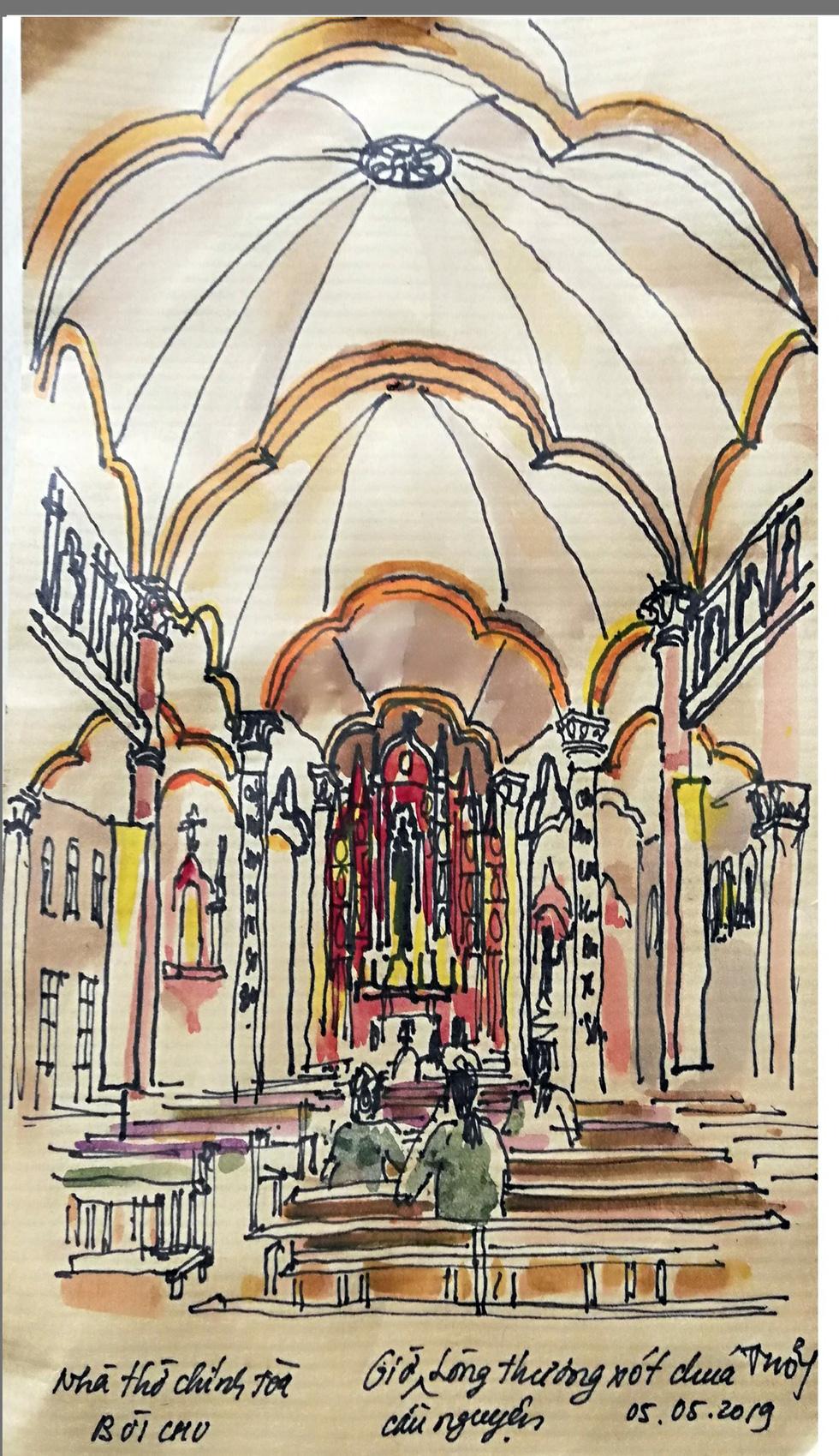 Giáo dân Bùi Chu phát hiện nhà thờ của mình lộng lẫy trên... ký họa - Ảnh 5.