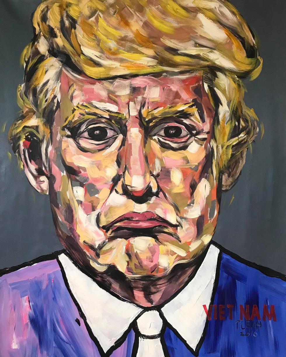 5 năm miệt mài vẽ Donald Trump, họa sĩ Việt được mời triển lãm tại Ý - Ảnh 2.