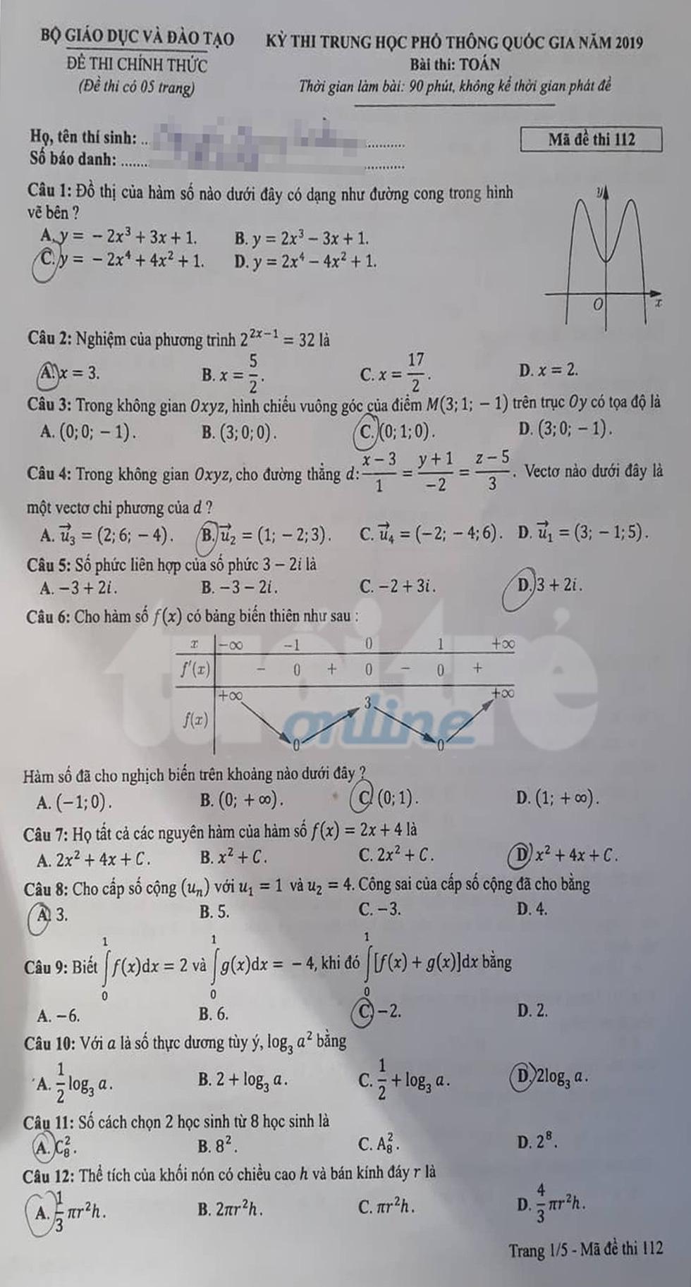 Đáp án môn toán thi THPT quốc gia 2019 - Ảnh 20.