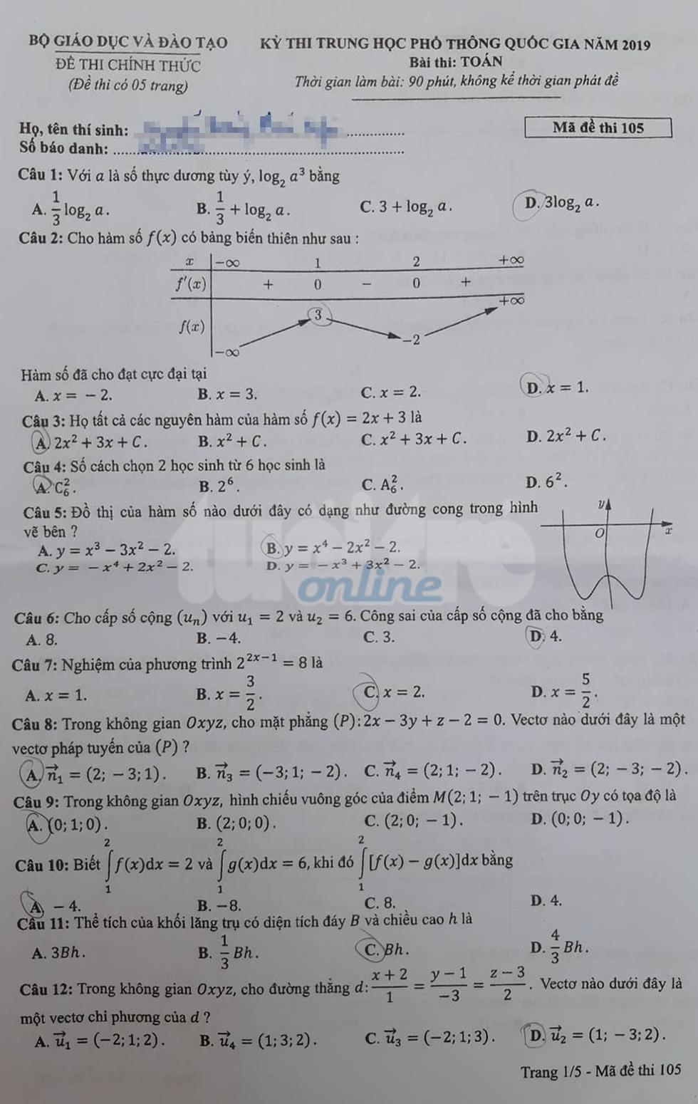 Đáp án môn toán thi THPT quốc gia 2019 - Ảnh 25.