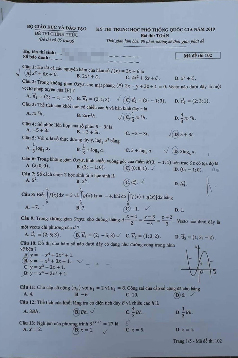 Đáp án môn toán thi THPT quốc gia 2019 - Ảnh 5.