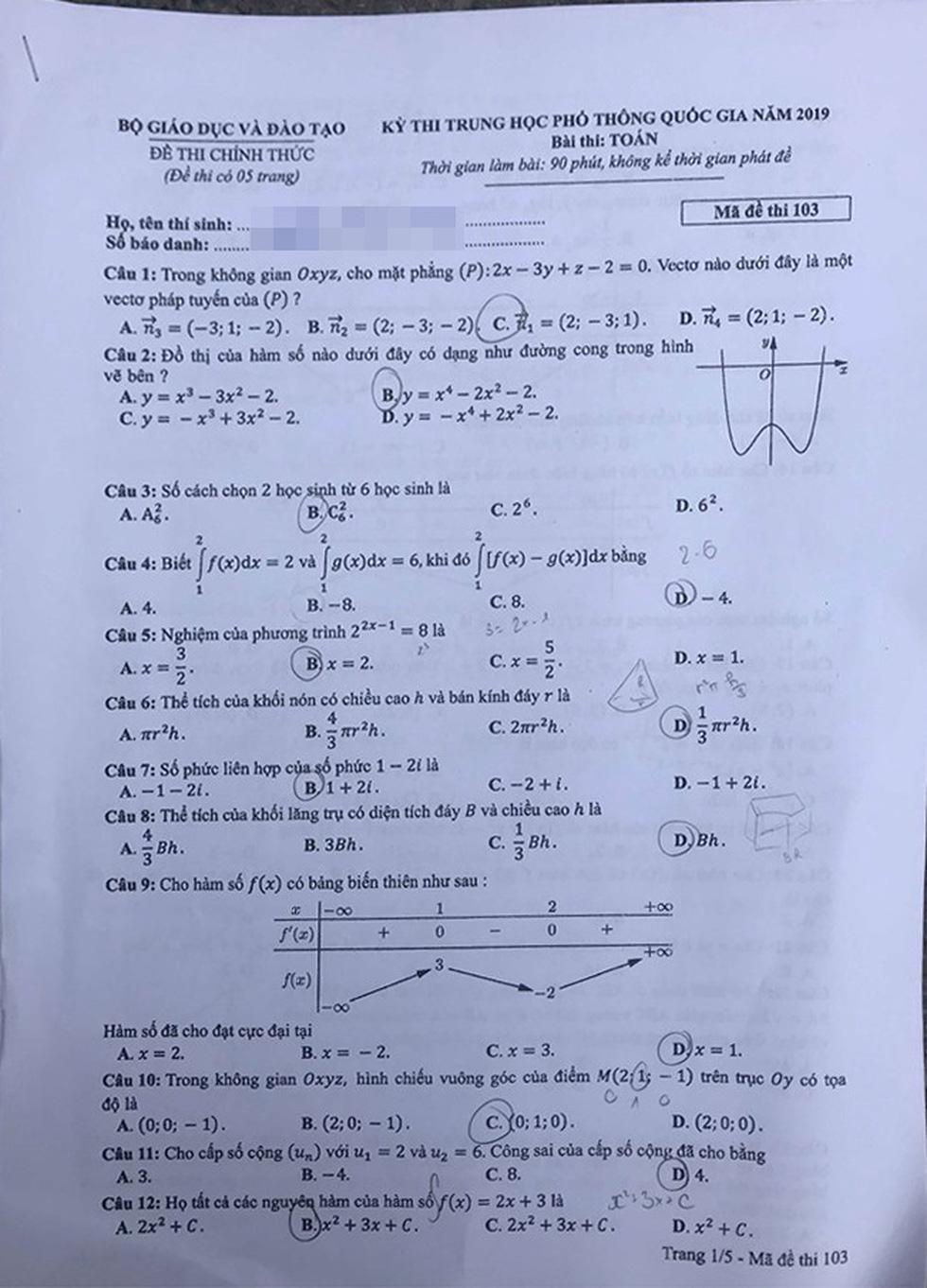 Đáp án môn toán thi THPT quốc gia 2019 - Ảnh 10.