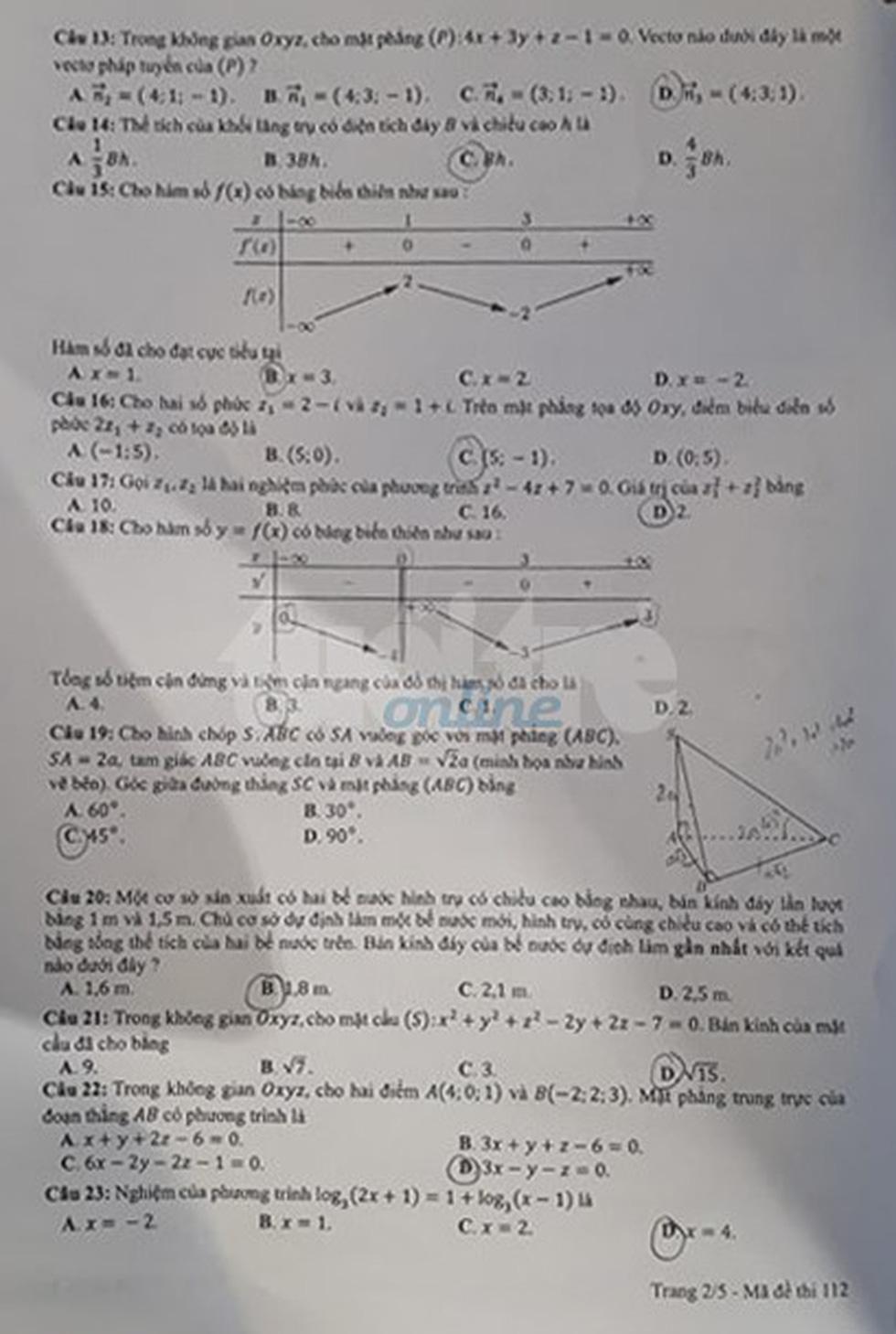 Đáp án môn toán thi THPT quốc gia 2019 - Ảnh 21.