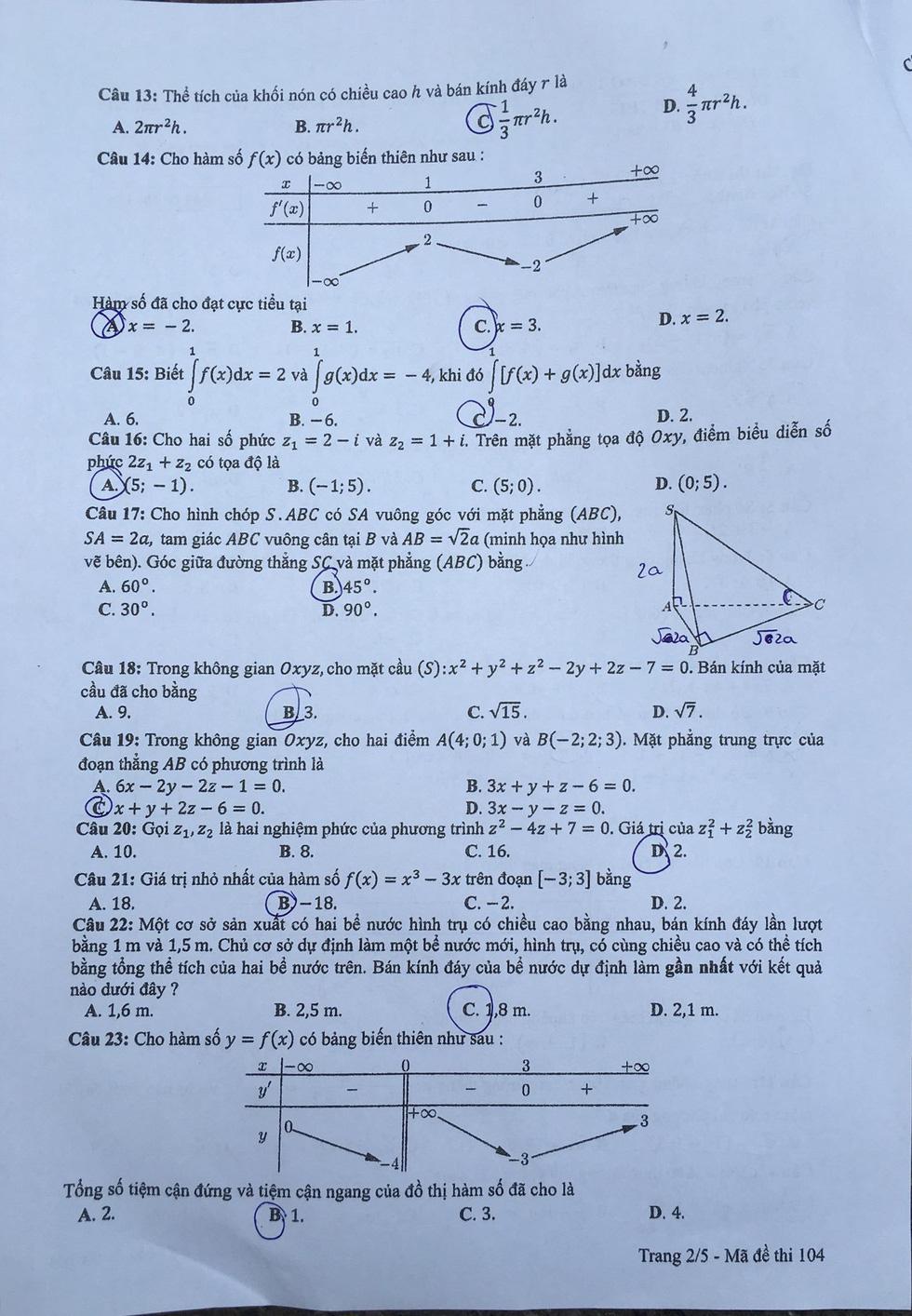 Đáp án môn toán thi THPT quốc gia 2019 - Ảnh 16.