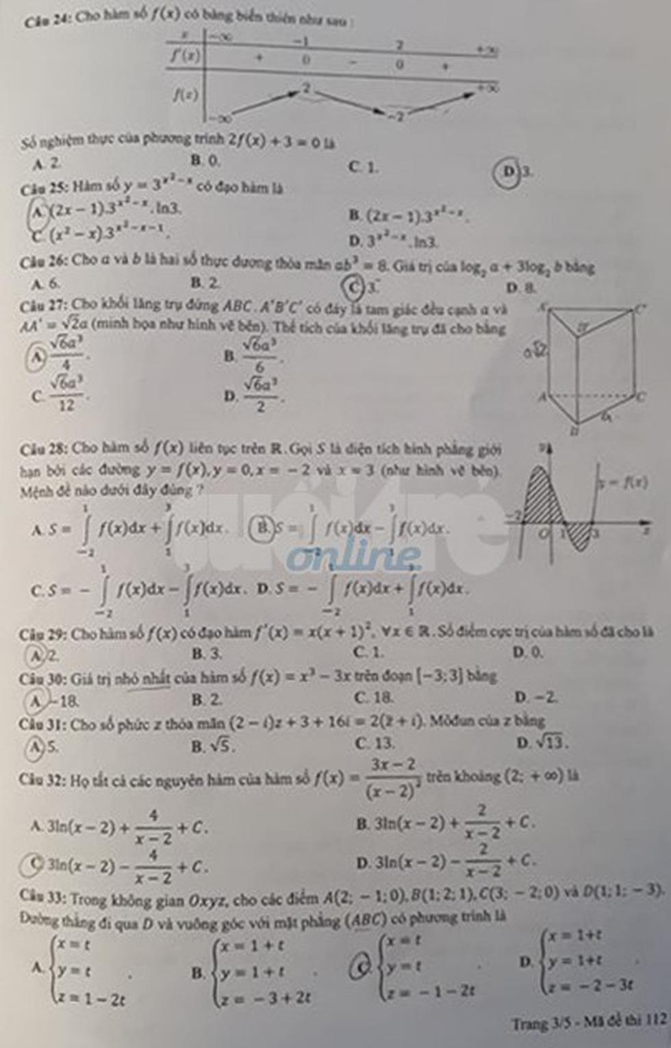 Đáp án môn toán thi THPT quốc gia 2019 - Ảnh 22.