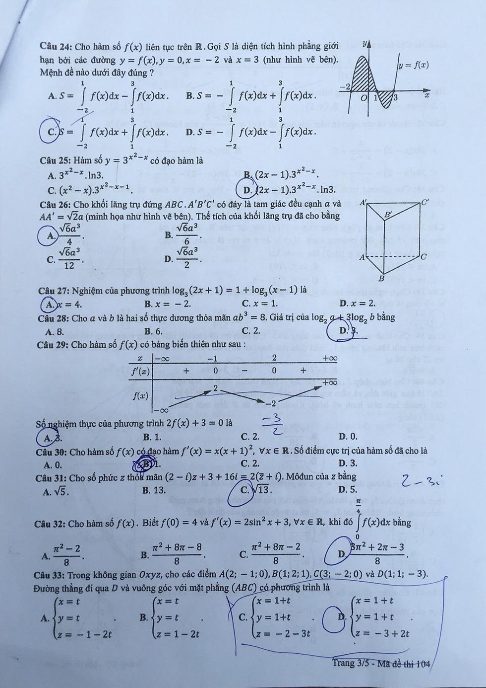 Đáp án môn toán thi THPT quốc gia 2019 - Ảnh 17.